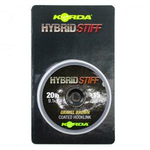 Плетеный шоклидер Korda Hybrid Stiff, Gravel brown, 20lb - 15m