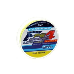 Шнур Flagman PE Hybrid F4 150м Fluo Yellow 0.14мм