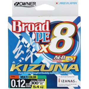 OWNER Шнур Kizuna X8 Broad PE multi color 10м 300м 0,12мм 5,4кг