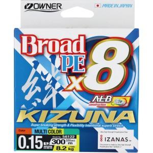OWNER Шнур Kizuna X8 Broad PE multi color 10м 300м 0,15мм 8,2кг