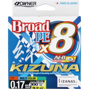 OWNER Шнур Kizuna X8 Broad PE multi color 10м 300м 0,17мм 9,2кг