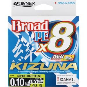 OWNER Шнур Kizuna X8 Broad PE chartreuse 135м 0,1мм 4,1кг