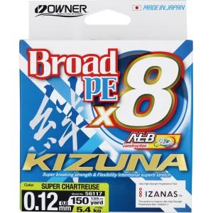 OWNER Шнур Kizuna X8 Broad PE chartreuse 135м 0,12мм 5,4кг