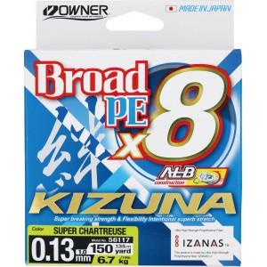 OWNER Шнур Kizuna X8 Broad PE chartreuse 135м 0,13мм 6,7кг
