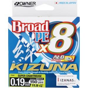 OWNER Шнур Kizuna X8 Broad PE chartreuse 135м 0,19мм 11,9кг