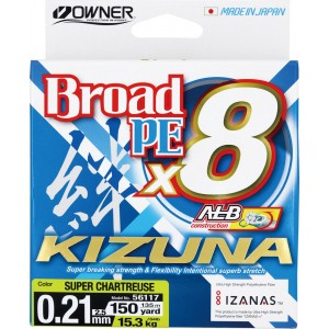 OWNER Шнур Kizuna X8 Broad PE chartreuse 135м 0,21мм 15,3кг