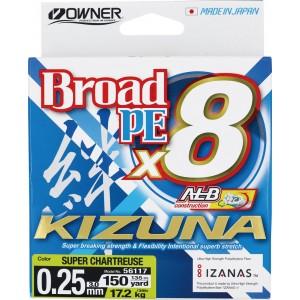 OWNER Шнур Kizuna X8 Broad PE chartreuse 135м 0,25мм 17,2кг