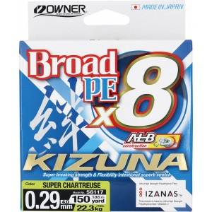 OWNER Шнур Kizuna X8 Broad PE chartreuse 135м 0,29мм 22,3кг