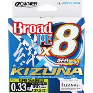 OWNER Шнур Kizuna X8 Broad PE chartreuse 135м 0,33мм 27,2кг