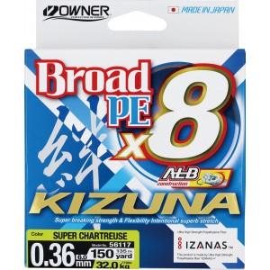 OWNER Шнур Kizuna X8 Broad PE chartreuse 135м 0,36мм 32кг