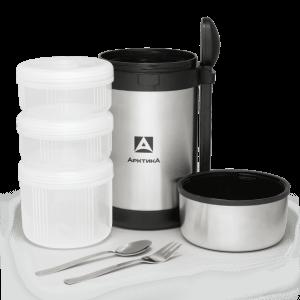 АРКТИКА Термос для еды вакуумный бытовой 1,5л с 3-мя контейнерами