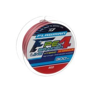 FLAGMAN Шнур PE Hybrid F4 300м Red 0,40мм 25кг 55lb