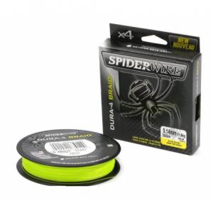 SPIDERWIRE Шнур плетеный Х4 Dura Braid 150м яркожелтый 0,10мм 9,1кг 20lb Yel