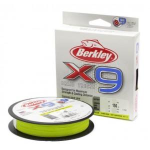 BERKLEY Шнур плетеный X9 150м яркожелтый 0,20мм 20,6кг