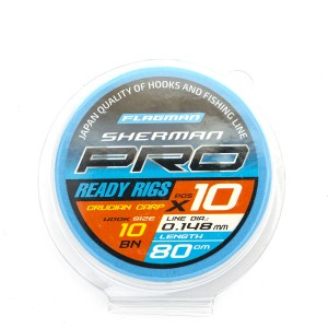 Готовые поводки Flagman SHERMAN PRO CRUCIAN CARP READY RIG 0,148mm, #10, 80cm