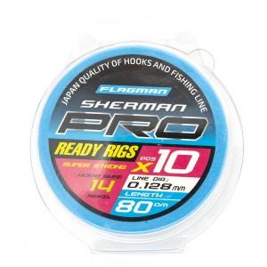 Готовые поводки Flagman SHERMAN PRO SUPER STRONG READY RIG 0,128mm,#14, 80cm
